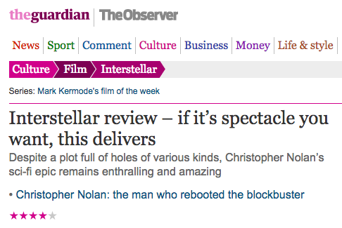 The Guardian about Interstellar